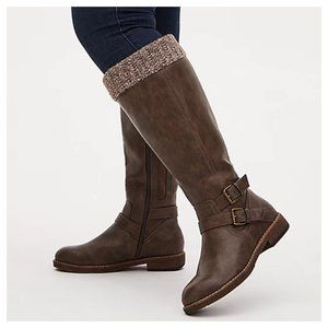 Taupe Faux Leather Sweater-Trimmed Knee-High Boot